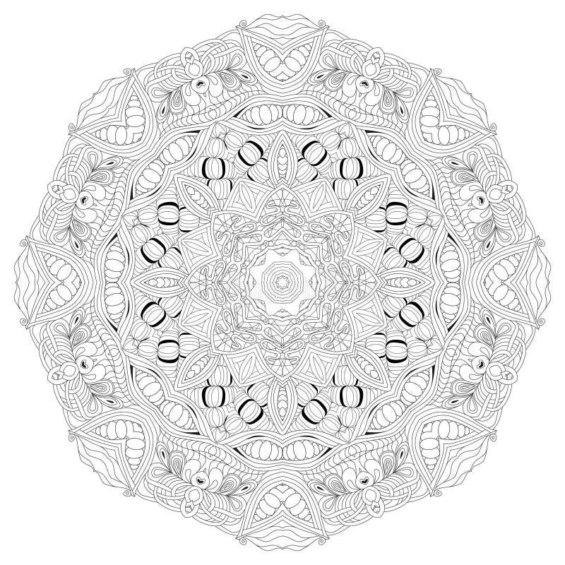 Mandala tiré par la main de zentangle pour la page de coloration illustration de vecteur