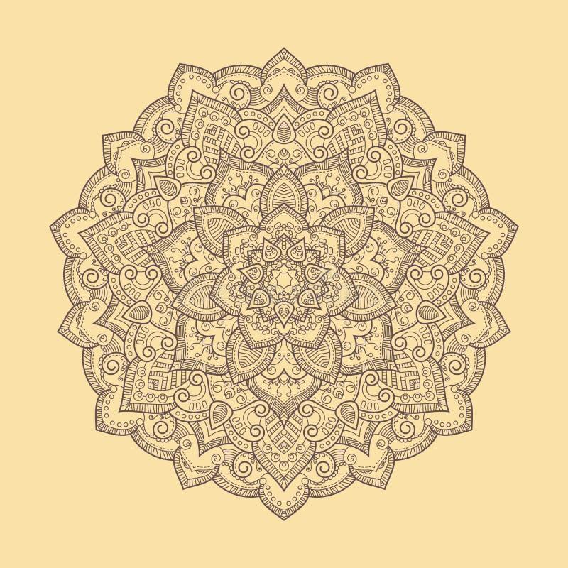 Mandala tiré par la main rond de boho Illustration de vecteur illustration libre de droits