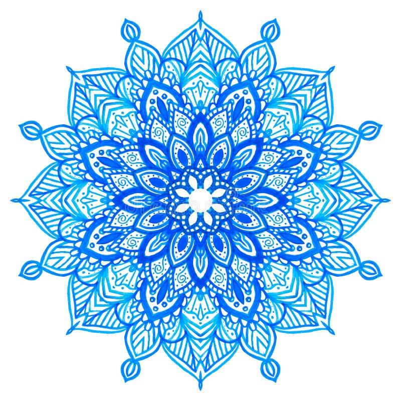 Mandala tirada mão da aquarela ilustração stock