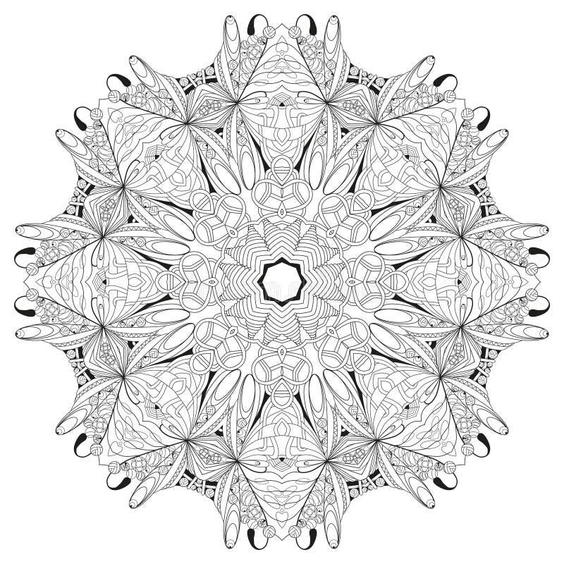 Mandala tirada mão do zentangle para a página colorindo ilustração royalty free