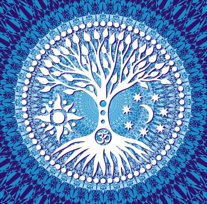 Mandala Tree of Life. Symbolic tree on blue tracery background. Vector. Mandala Tree of Life. Symbolic tree on blue tracery background. Symbols of the sun, moon vector illustration