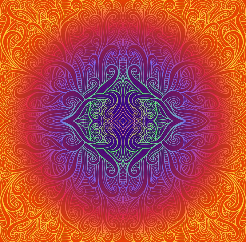 Mandala tribal abstracta de Psychedeli Modelo brillante de la ronda del vintage Fondo étnico del fractal del ejemplo del vector n libre illustration