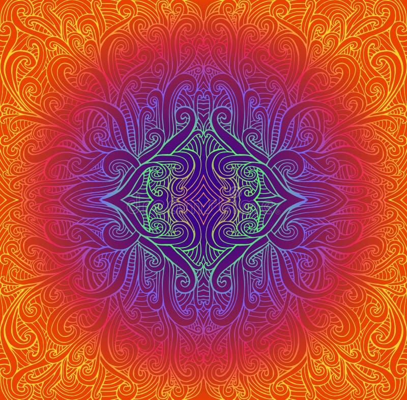 Mandala tribal abstrata de Psychedeli Teste padrão brilhante do círculo do vintage Fundo étnico do fractal da ilustração do vetor ilustração royalty free