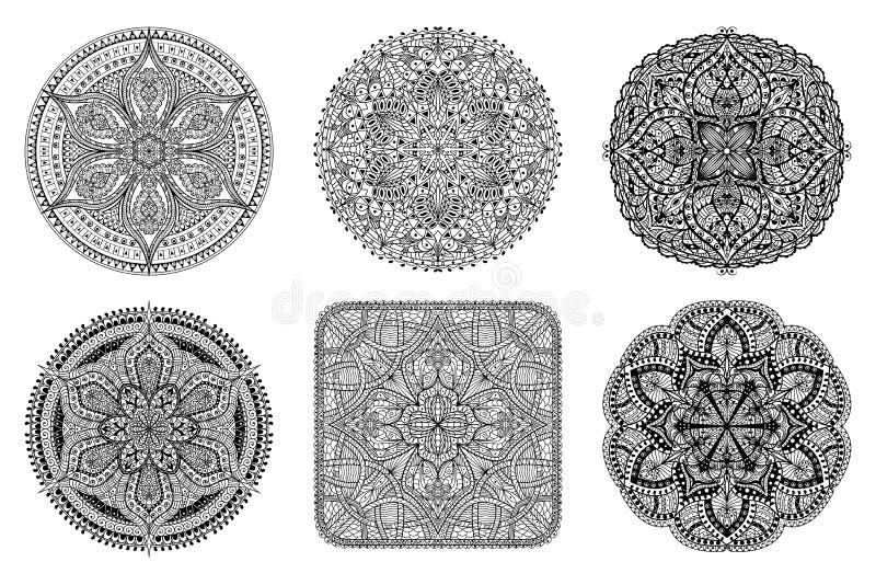 Mandala ustawiający Czarni orientalni dekoracyjni kwiatów wzory royalty ilustracja