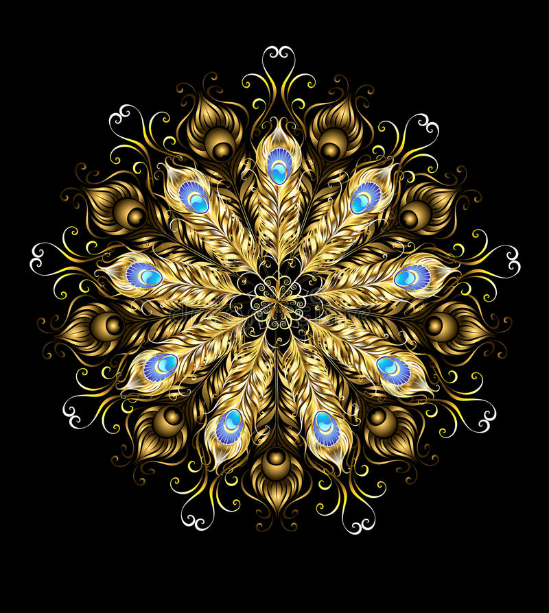 Mandala van de gouden pauwveren stock illustratie