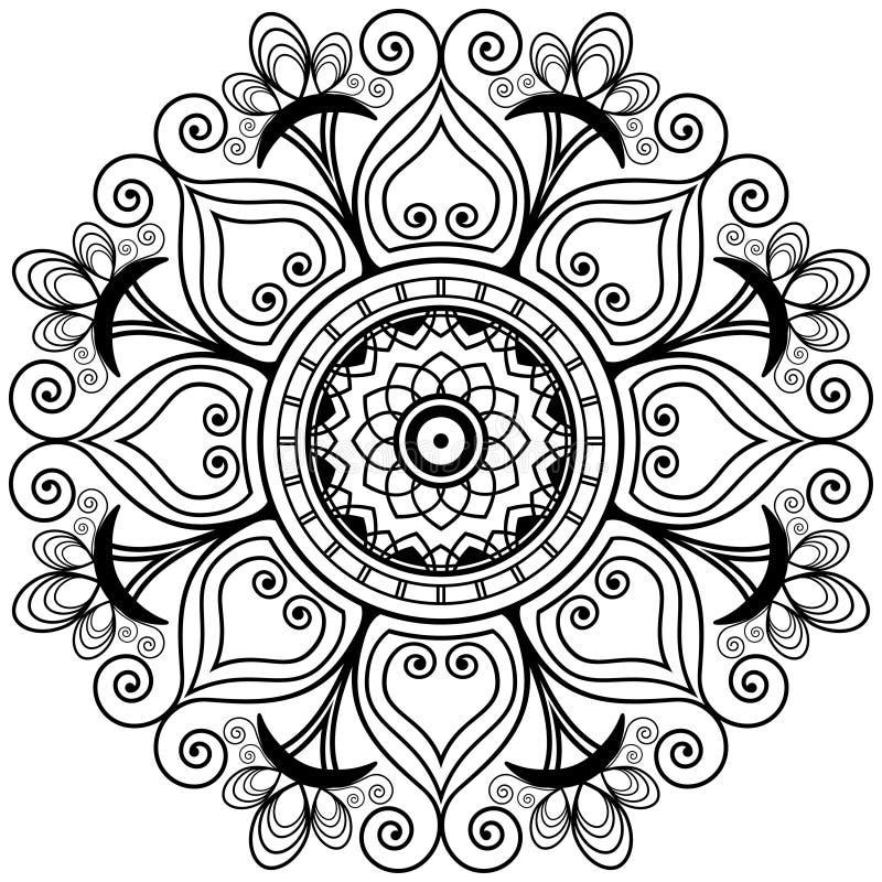 Mandala van de hennatatoegering in mehndistijl Decoratieve het kleuren boektracery vector illustratie