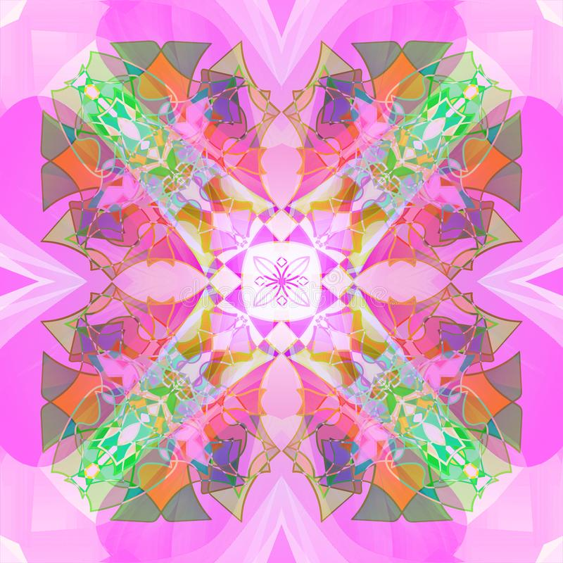 Mandala van het art deco Rooskleurige onduidelijke beelden GROENE PASTELKLEURENpallet N, ORANJE, BLAUW, PURPER royalty-vrije illustratie