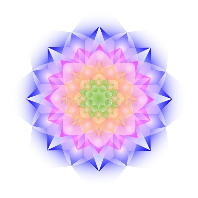 Mandala van het kleurenkristal op witte achtergrond royalty-vrije illustratie