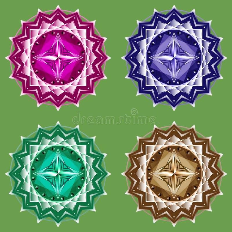Mandala vastgesteld symbool vier kleuren royalty-vrije illustratie