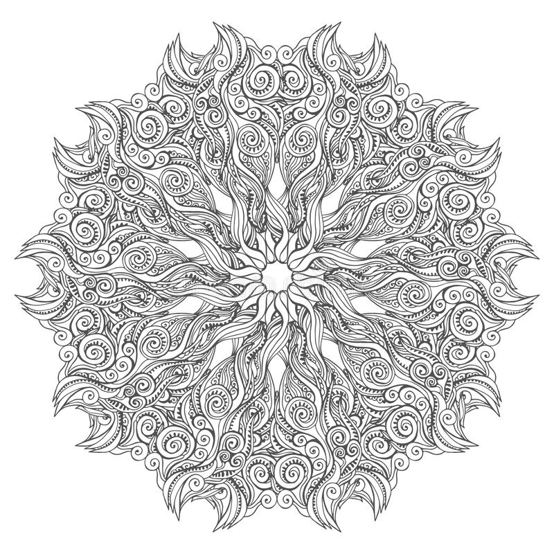 Mandala vector card on white background. Coloring book page for adults and kids. Children and animals. Black and white. Mandala vector card on white background royalty free illustration