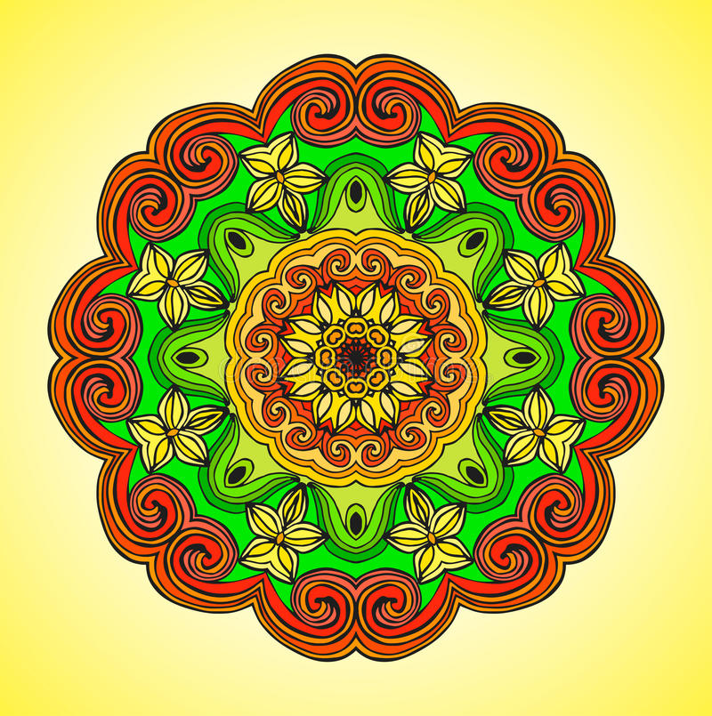 mandala Vector el ornamento, elemento decorativo redondo colorido para su diseño stock de ilustración