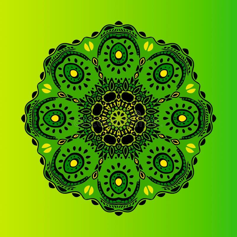 mandala Vector el ornamento, elemento decorativo redondo verde para su diseño stock de ilustración
