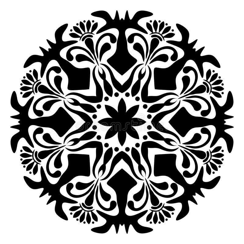 Mandala Vector Illustration in bianco e nero royalty illustrazione gratis