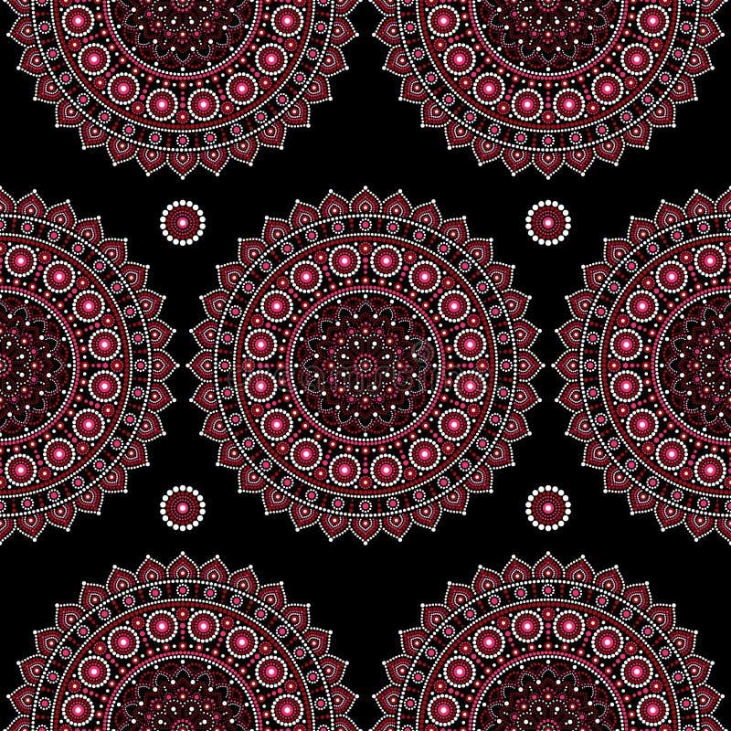 Mandala vector naadloos patroon, Inheems punt het schilderen ontwerp, Australische volks de stijl herhaalde achtergrond van kunst royalty-vrije illustratie
