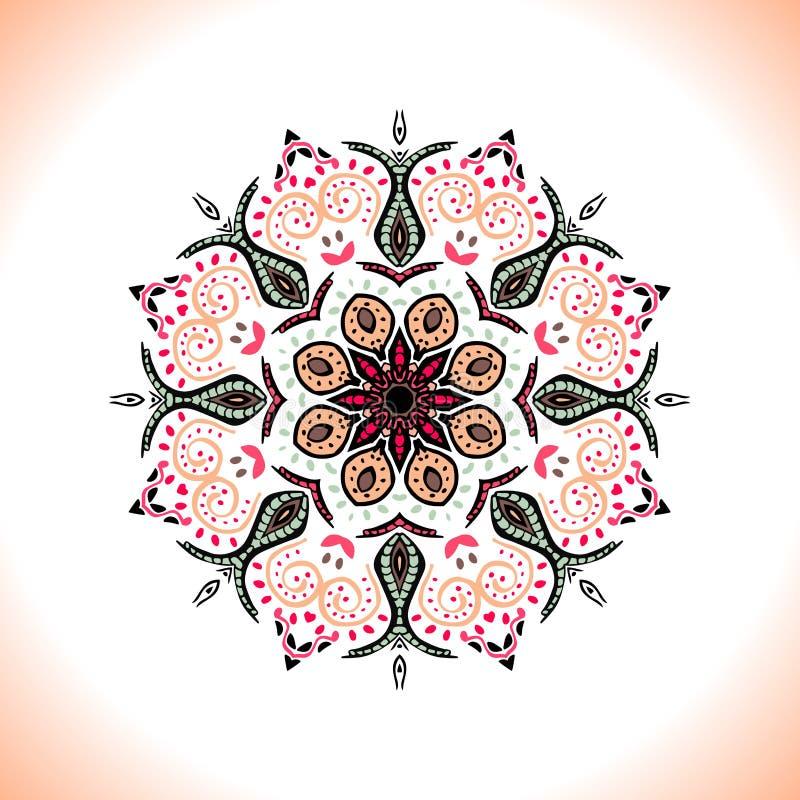 mandala Vector o ornamento em cores do pêssego, elemento decorativo redondo para seu projeto ilustração do vetor