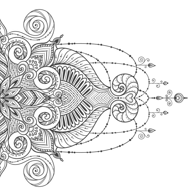 Mandala Vector tattoo. Perfect card for design, birthday and other holiday stock illustration