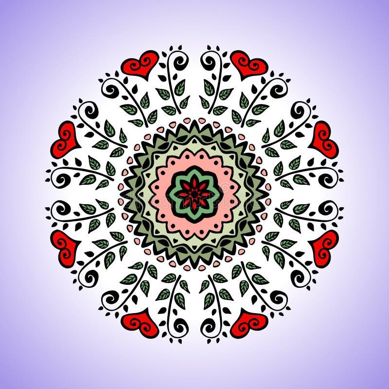 mandala Vector Verzierung, buntes rundes dekoratives Element für Ihr Design lizenzfreie abbildung