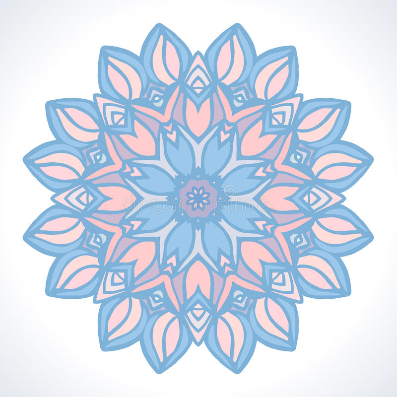 mandala Vectorornament in in Pantone-kleuren Rose Quartz en Sereniteit stock illustratie