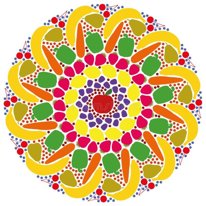 Mandala Vegetables Fruits Colors ilustração stock