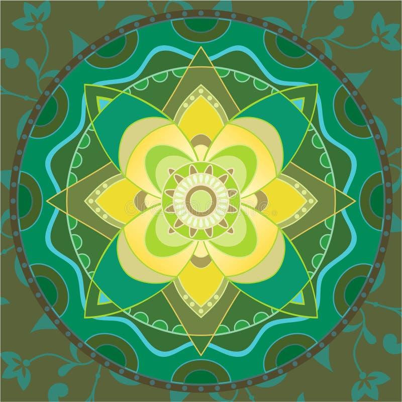 Mandala verde ilustração stock