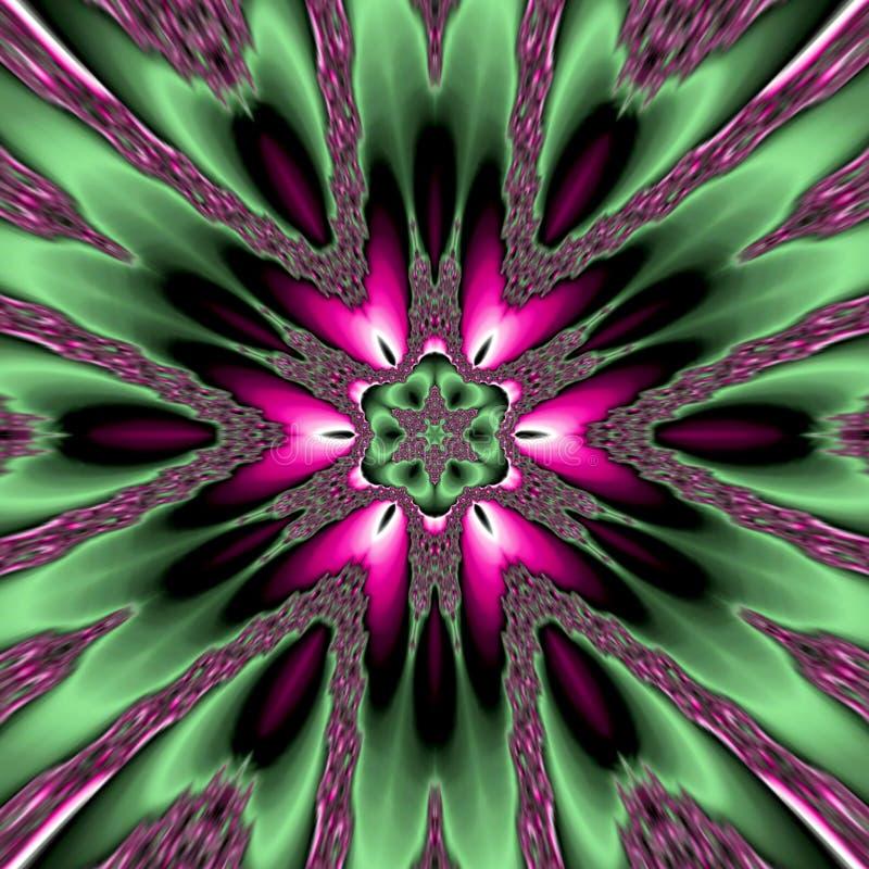 Mandala verde de la estrella, flor oscura abstracta en rosado y verde, modelo de la primavera libre illustration