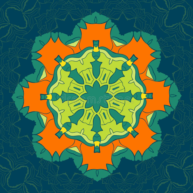 Mandala verde e alaranjada do vetor Decoração para seu projeto, ornamento do laço, teste padrão redondo com lotes dos detalhes or ilustração stock