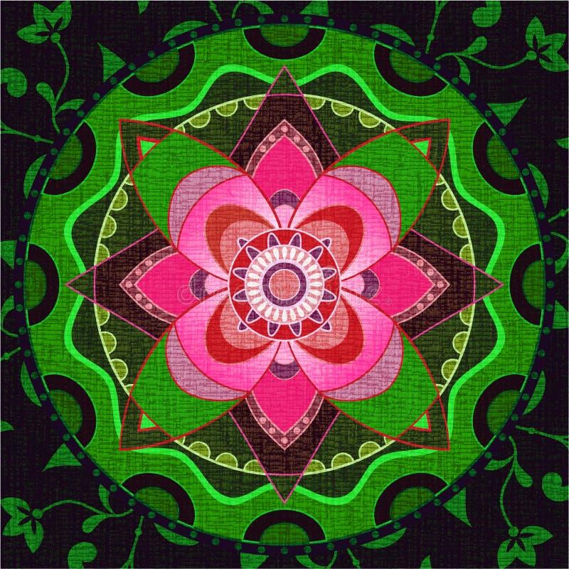 Mandala verde e cor-de-rosa ilustração do vetor