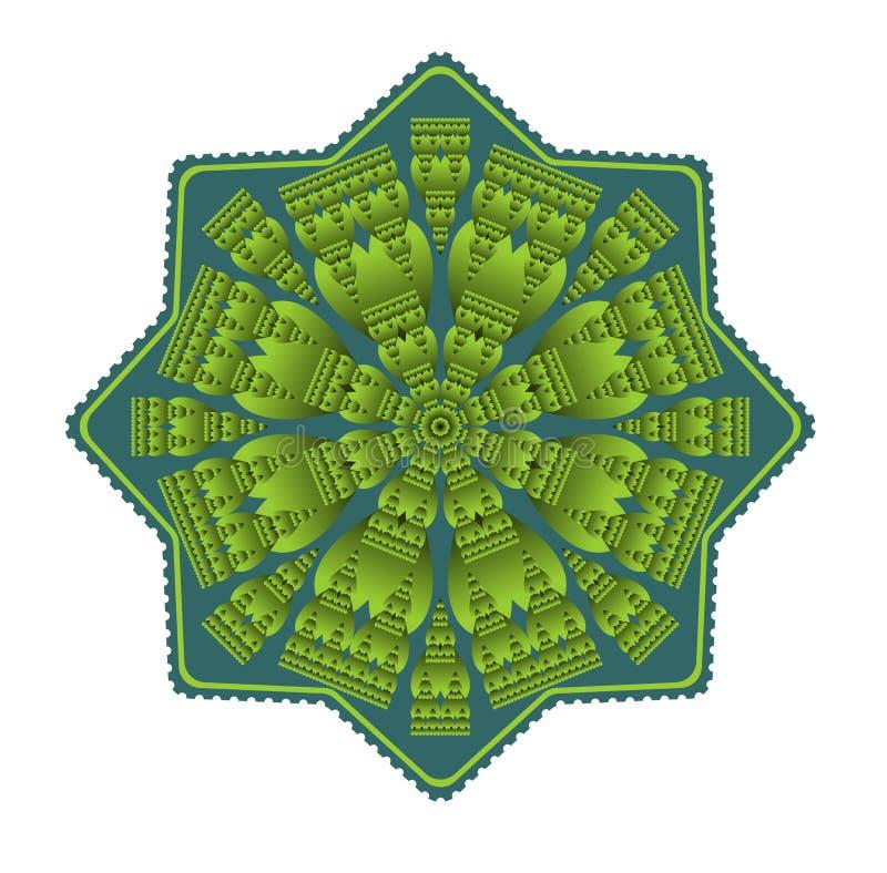 Mandala verde para a obtenção da energia e da vitalidade ilustração do vetor