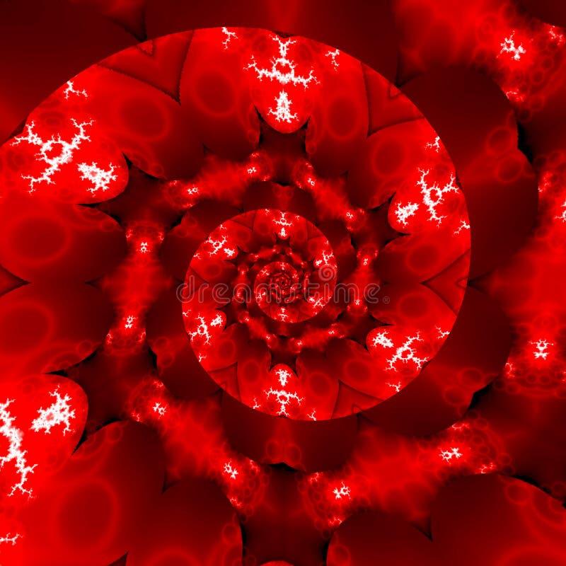 Mandala vermelha brilhante da telha com efeito do fractal contínuo dos corações ilustração do vetor