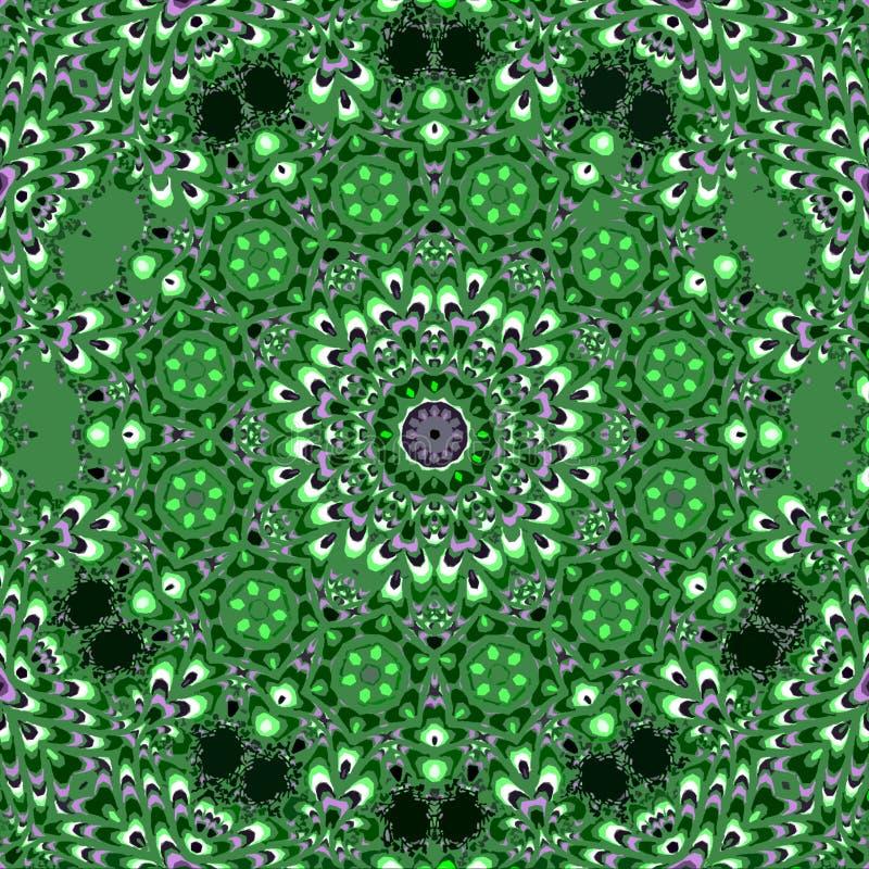 Mandala vert dans le kaléidoscope floral de cercles illustration stock