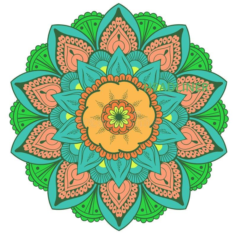 Mandala Vetora Design Element Decoração redonda do ornamento Teste padrão de flor [02] Motivo floral estilizado complexo ilustração do vetor