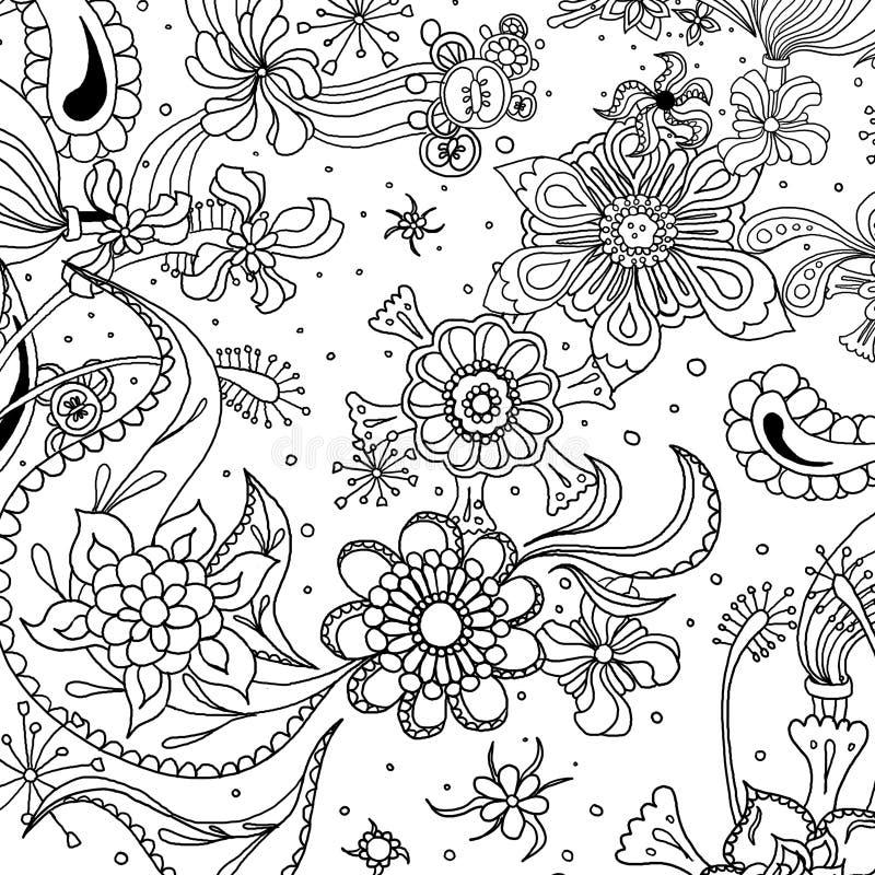 Mandala Vintage Retro Floral Flower Art Hippie Texture Abstract Background. Floral Flower Art Texture Background. Colouring Page. Coloring Page vector illustration