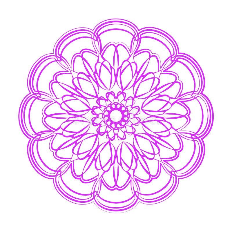 Mandala violet de fleur Ornement décoratif de cru image stock