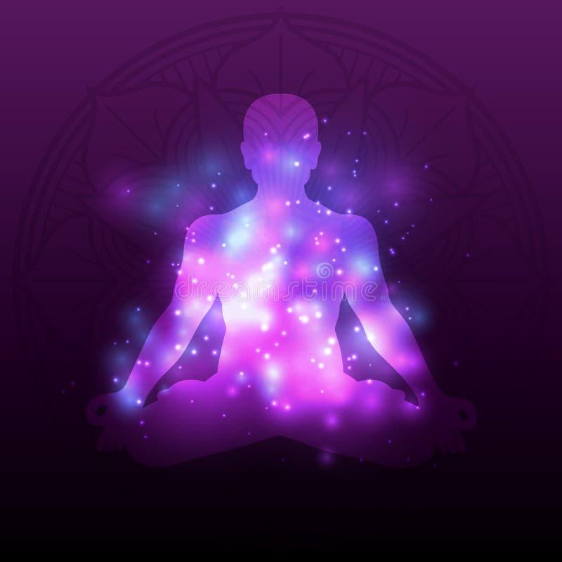 Mandala violeta de la silueta de la meditación con efecto brillante stock de ilustración
