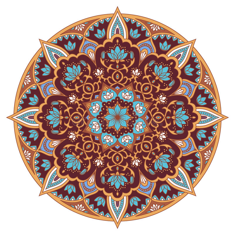 Mandala w błękicie i brązów kolorach ilustracji