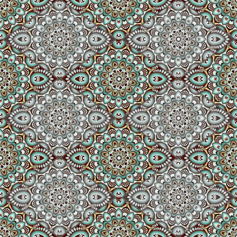 Mandala w cieniach zieleń Wschód, etniczny projekt, orientalny wzór, round ornament Dla use w tkaninie, druk, tatuaż, fretwork, b ilustracja wektor