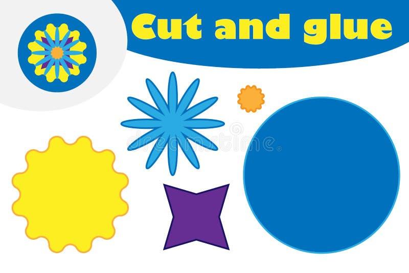Mandala w kreskówka stylu, edukacji gra dla rozwoju preschool dzieci, używa nożyce i kleidło tworzyć aplikację, ilustracja wektor