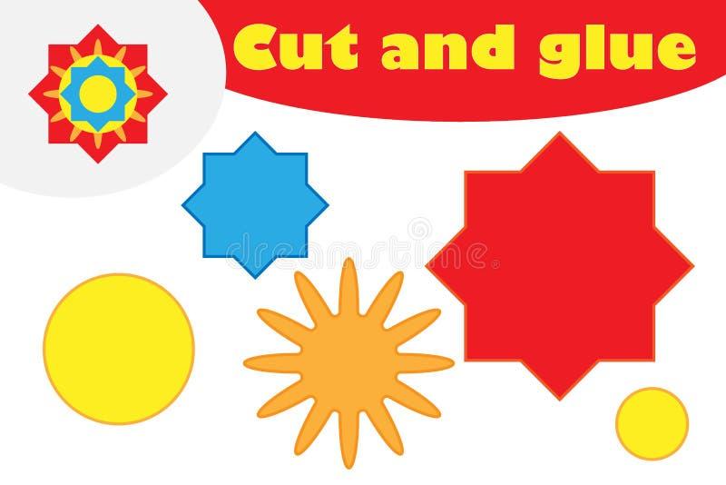 Mandala w kreskówka stylu, edukacji gra dla rozwoju preschool dzieci, używa nożyce i kleidło tworzyć aplikację, ilustracji