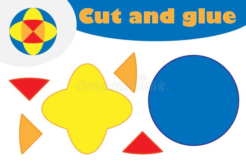 Mandala w kreskówka stylu, edukacji gra dla rozwoju preschool dzieci, używa nożyce i kleidło tworzyć aplikację, royalty ilustracja