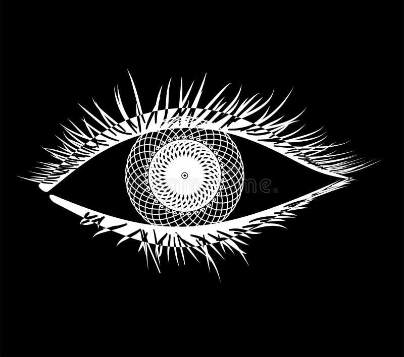 Mandala w oku ilustracja wektor