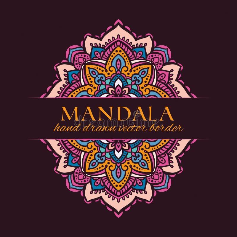 Mandala wektoru ręka rysująca granica Menchie, beż, pomarańcze i błękitny orientalny ornament, ilustracji