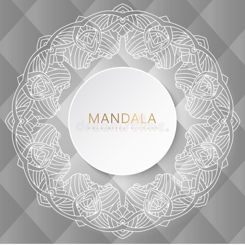 Mandala white frame royalty free illustration