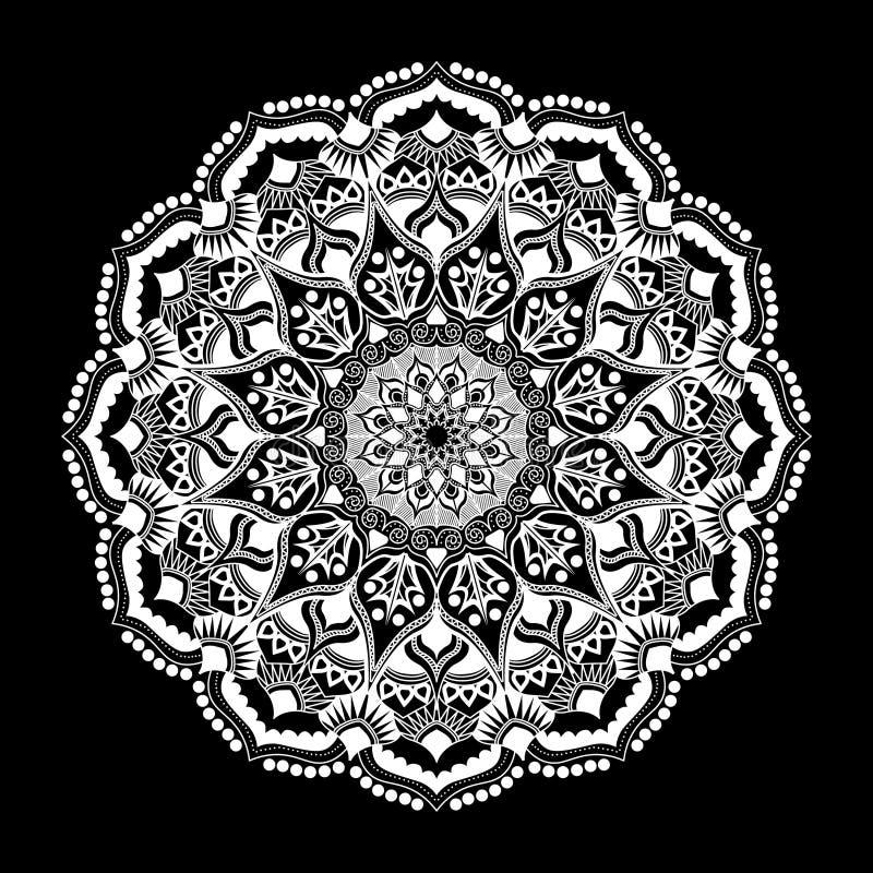 Mandala wit ornament dat op zwarte achtergrond wordt geïsoleerd vector illustratie