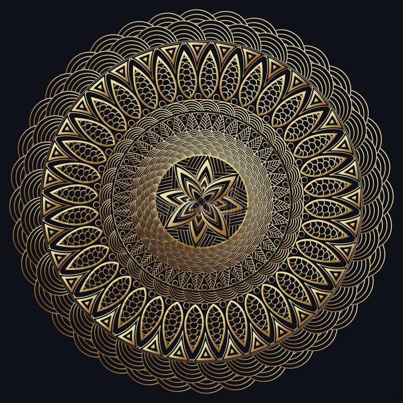 Mandala złoto, Świetny carv Round ornamentu wzór elementu dekoracyjny rocznik ilustracja wektor