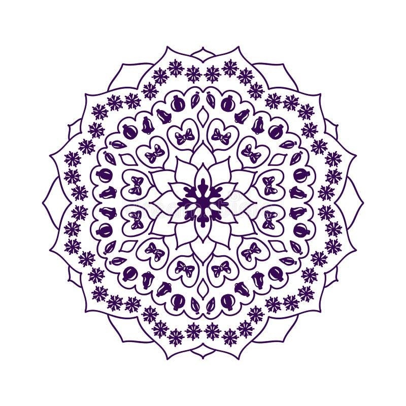 Mandala z Bożenarodzeniowymi elementami wektor ilustracja wektor