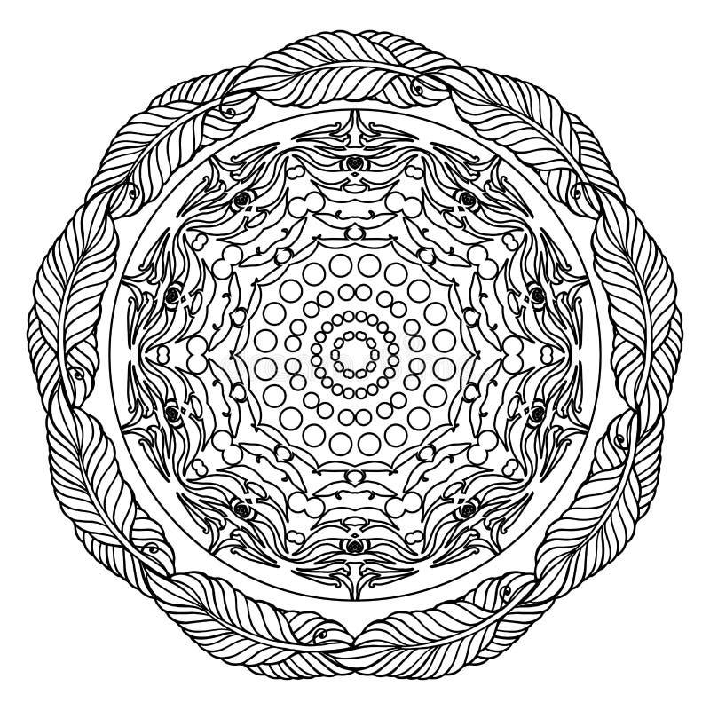 Mandala Zentangle, σελίδα για το ενήλικο βιβλίο χρωματισμού, διανυσματικό στοιχείο σχεδίου απεικόνιση αποθεμάτων