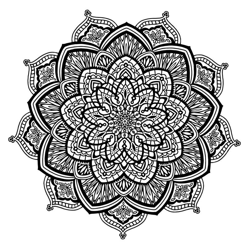 Mandala in zwart-wit vector illustratie