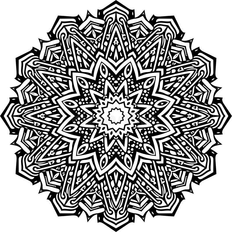 Mandala in zwarte lijnen vector illustratie