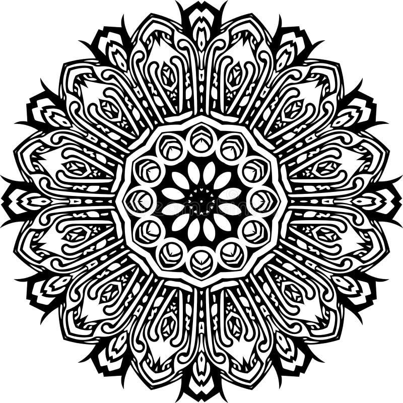 Mandala in zwarte lijnen stock illustratie