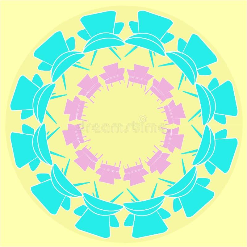 Mandalaartverzierung mit Lehnsesselillustration stockfotos